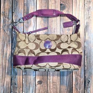 ‼️⬇️ Coach Tan/Purple Shoulder Bag
